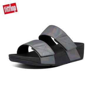 【FitFlop】MINA IRIDESCENT SLIDES 金屬光澤鞋面寬帶涼鞋-女(靚黑色)