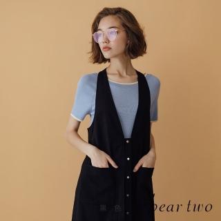 【bear two】金屬釦環背心洋裝(黑色)