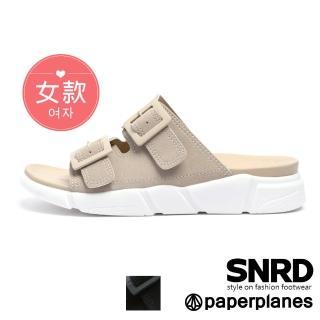 【Paperplanes】韓國空運來台。高端品味雙帶舒壓涼拖鞋(7-0273/二色-現貨+預購)