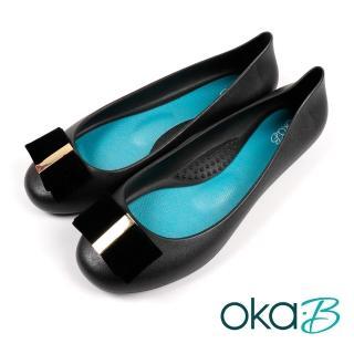 【oka-B】雙層寬蝴蝶結造型配飾平底娃娃鞋 黑色(K0527MA-BL)