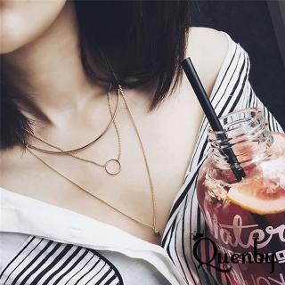 【Quenby】歐美多性多層設計款鎖骨鏈/頸鍊(金色)