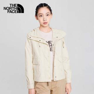 【The North Face】The North Face北面女款米白色防風防潑水造型連帽外套|4NEY11P