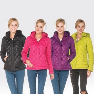 【SAMLIX 山力士】JIS90%女輕量化防潑水羽絨保暖外套#31914(黑色.紅紫色.桃紅色.綠色)