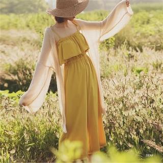 【AS 梨卡】罩衫 薄外套 防曬 針織 外套 度假 沙灘 長袖 針織 顯瘦 寬鬆外衣C6461