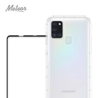 【Meteor】SAMSUNG Galaxy A21s 手機保護超值2件組-專案(透明空壓殼+鋼化膜)