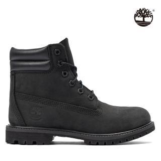 【Timberland】女款黑色磨砂革經典防水6吋靴(A15QY001)