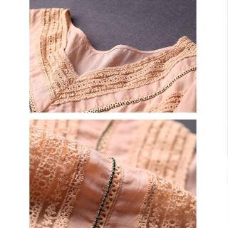 【初色】V領蕾絲雪紡衫-粉色-96696(M-2XL可選)