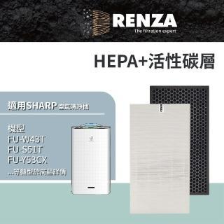 【RENZA】HEPA+活性碳濾網 適用 夏普 SHARP FU-W43T FU-S51T(可替代FZ-W53SEF)