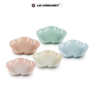 【Le Creuset】瓷器花型盤-中-5入(花漾粉/肉豆蔻/棉花白/晴空藍/甜薄荷)