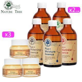 【Nature Tree】金緻呵護補水組(濃縮精華液250ml-任選x2+黃金賦活乳霜30mlx3)