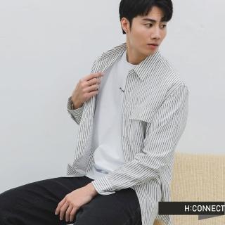 【H:CONNECT】韓國品牌 男裝 -直條紋雙口袋棉麻襯衫(米色)