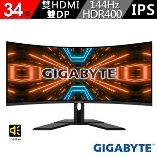 【GIGABYTE 技嘉】技嘉 G34WQC-AP 34型 144Hz 1ms HDR400 曲面電競螢幕(G34WQC-AP)