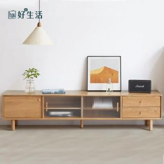 【hoi! 好好生活】原木日式奈良白橡木實木玻璃1.8M電視櫃 N0423