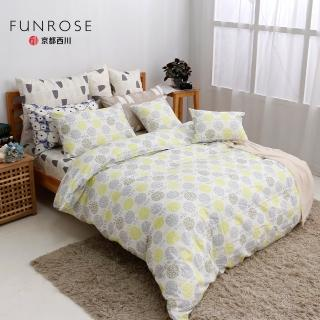 【京都西川】100%純棉 四件式薄被套平單床單組 朵朵小花(雙人9X10)