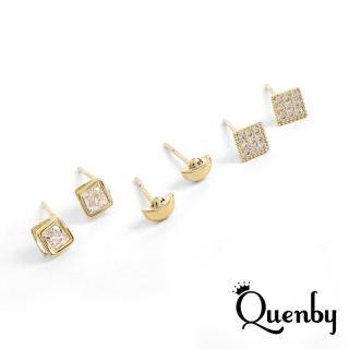 【Quenby】925純銀 微鑲鋯石簡約貼耳耳環/耳針-三入組(韓國流行/飾品)