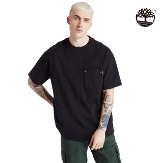 【Timberland】男款黑色工裝寬鬆有機棉短袖圓領T恤(A2ACF001)