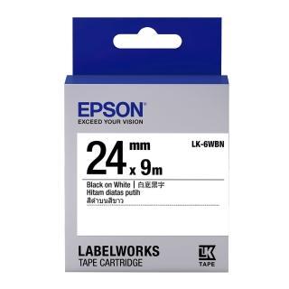 【EPSON】標籤帶 白底黑字/24mm(LK-6WBN)