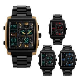 【SKMEI 時刻美】1274 時尚方形雙顯示多功能運動電子錶
