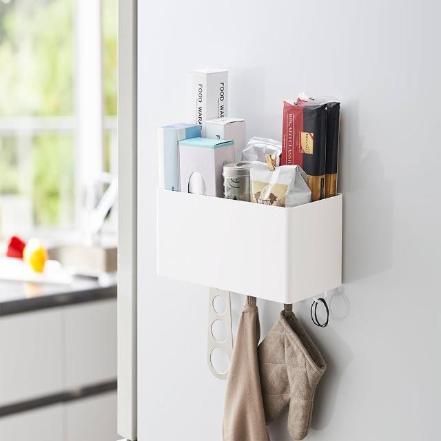 【日本YAMAZAKI】tower磁吸式萬用收納籃(白)/