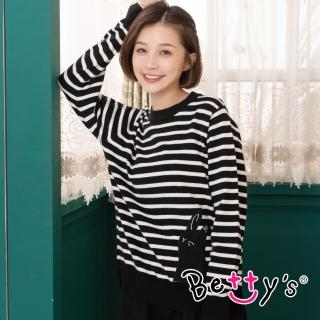 【betty's 貝蒂思】兔子剪影條紋圓領毛衣(黑色)