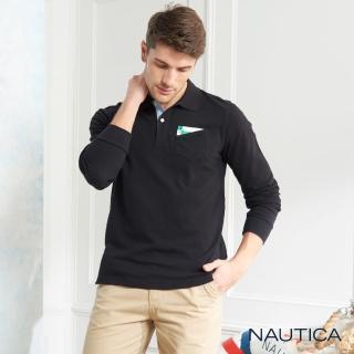 【NAUTICA】經典素面口袋長袖POLO衫(黑色)