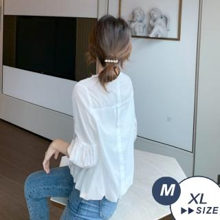 【LANNI 藍尼】現+預 碎花燈籠袖蕾絲雪紡襯衫(七分袖 襯衫 甜美)