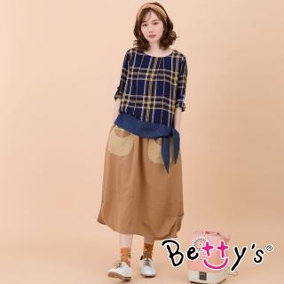 【betty's 貝蒂思】笑臉口袋縫飾長裙(駝色)