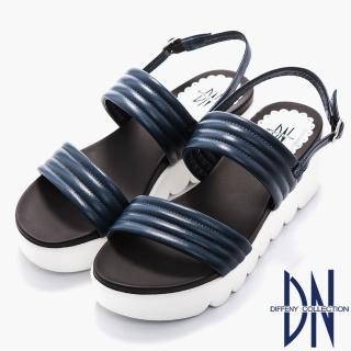 【DN】涼鞋_柔軟羊皮一字寬版繫帶厚底涼鞋(藍)