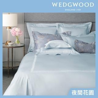【WEDGWOOD】400織長纖棉刺繡床包被套枕套四件組-夜間花園(雙人)/