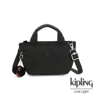 【KIPLING】質感黑手提兩用斜背包-SUGAR