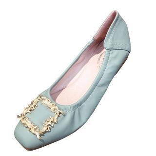 【Sp house】金色羽毛方扣踩腳柔軟平底豆豆娃娃鞋(3色可選)