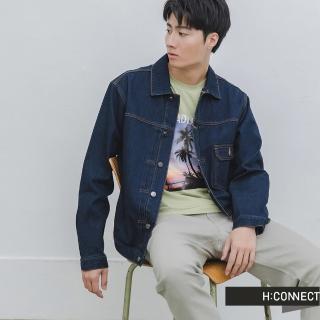 【H:CONNECT】韓國品牌 男裝 -個性貼布繡字牛仔外套(藍色)
