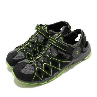 【MERRELL】涼鞋 Hydro Quench 運動休閒 童鞋 快乾內裡 緩震 高抓地力 魔鬼氈 中大童 黑 綠(MK263196)