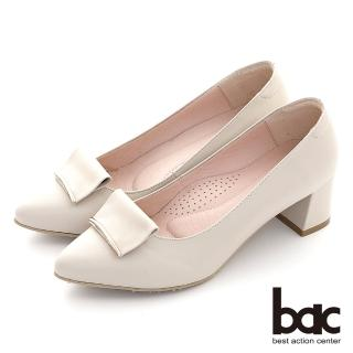 【bac】優雅細膩金屬點綴粗跟鞋(米色)