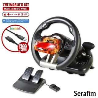 【Serafim】R1+ 賽車方向盤+踏板(支援安卓/iOS/Switch/PS4/Xbox/PC)(組合用)
