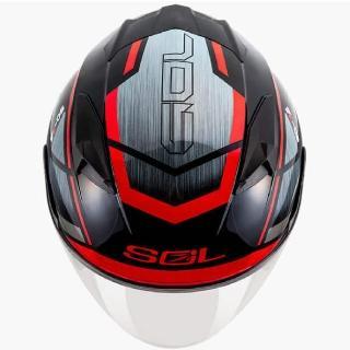 【SOL】SO-7E 幻影 黑/紅 3/4罩(開放式安全帽│機車│內襯│半罩│加長型鏡片│內藏墨鏡│GOGORO)