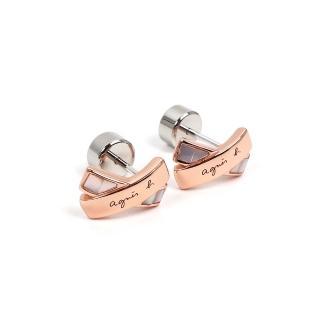 【agnes b.】Twilight 女性母貝耳環(玫瑰金/針式)
