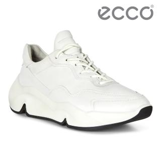 【ecco】CHUNKY SNEAKER W 潮趣簡約輕量單色休閒運動鞋 女鞋(白色 20311301007)