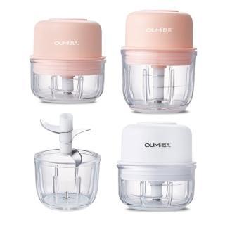 【優廚寶】玻璃款智能電動攪蒜機 家用寶寶輔食機 多功能料理機(附150ml/300ml玻璃杯體+刀片)