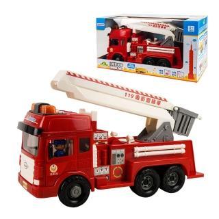 【888ezgo】ST台灣配音大型紅色消防噴水雲梯車(雲梯可升高)(車門開附人偶)(品質佳超會跑)