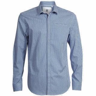 【CR7 CRISTIANO RONALD 西羅】Slim Fit 小方格雙拼深淺藍色襯衫(8648-72-321)