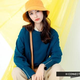 【H:CONNECT】韓國品牌 女裝 -袖口拉鍊設計上衣(藍色)