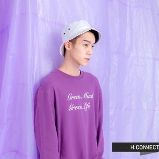 【H:CONNECT】韓國品牌 男裝 -草寫標語圓領上衣(紫色)