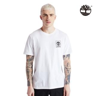 【Timberland】男款白色背面迷彩LOGO有機棉短袖圓領T恤(A2AFV100)