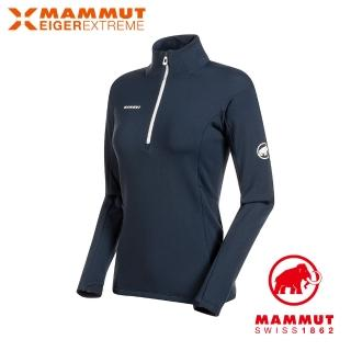 【Mammut 長毛象】Moench Advanced Half Zip LS 極限艾格輕量透氣拉鍊排汗衣 夜藍 女款 #1016-00860