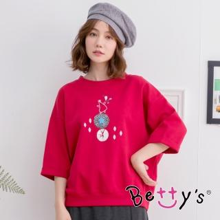 【betty's 貝蒂思】圓領短袖小貝羊印花T-shirt(紅色)