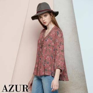【AZUR】時尚女伶花紋傘狀造型襯衫