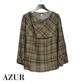 【AZUR】都會經典法式休閒格紋上衣
