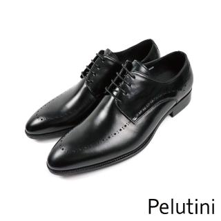 【Pelutini】排列雕花造型時尚德比鞋 黑色(8730-BL)