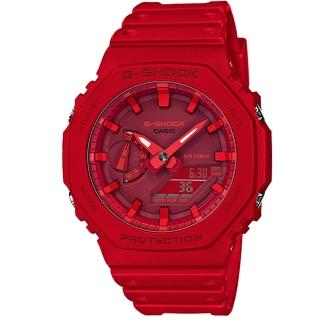 【CASIO 卡西歐】G-SHOCK 農家橡樹八角雙顯錶-紅(GA-2100-4A)